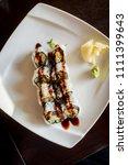 barbecued eel with cucumber... | Shutterstock . vector #1111399643