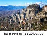 greece  monastery on the rocks... | Shutterstock . vector #1111402763