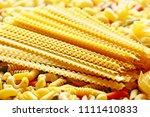 long italian pasta close up... | Shutterstock . vector #1111410833
