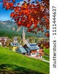 alpine green fields and... | Shutterstock . vector #1111444637