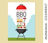 bbq party invitation with grill ... | Shutterstock .eps vector #1111445417