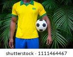 brazilian football player in... | Shutterstock . vector #1111464467