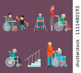 disabled handicapped diverse... | Shutterstock .eps vector #1111480193