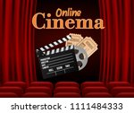 movie theater with row of red... | Shutterstock .eps vector #1111484333