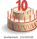 Tenth Birthday Cake - stock vector