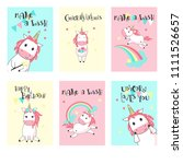 magic unicorn birthday greeting ...   Shutterstock .eps vector #1111526657