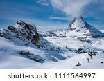 the famous mountain matterhorn... | Shutterstock . vector #1111564997