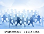 Crowd of paper chain people - stock photo