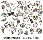 set of tender pastel colored... | Shutterstock . vector #1111574483