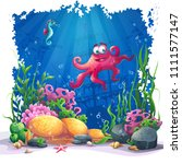 beautiful octopus  coral and... | Shutterstock .eps vector #1111577147