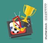 soccer ball and awards on...   Shutterstock .eps vector #1111577777