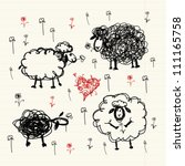 Funny sheep on meadow, sketch for your design - stock vector