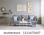 grey sofa with pillows and... | Shutterstock . vector #1111672637