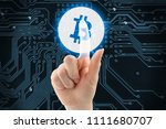 hand is pushing virtual button... | Shutterstock . vector #1111680707