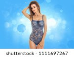 sensual lady in blue body lace... | Shutterstock . vector #1111697267