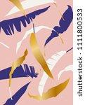 vector summer palm tree print.... | Shutterstock .eps vector #1111800533