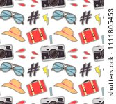 photo camera hipster sticker... | Shutterstock .eps vector #1111805453
