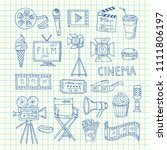 vector cinema doodle icons of... | Shutterstock .eps vector #1111806197