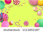 yellow festive background with... | Shutterstock .eps vector #1111852187
