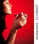 Beautiful Lady Drinking Coffee...