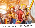 whole family cheering for the...   Shutterstock . vector #1111866023