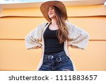 young attractive woman wearing... | Shutterstock . vector #1111883657