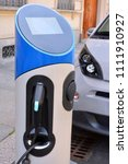 electric urban charging station ...   Shutterstock . vector #1111910927