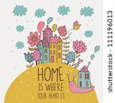 home        is where you heart... | Shutterstock .eps vector #111196013
