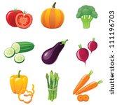 fresh shiny vegetables   icons... | Shutterstock . vector #111196703