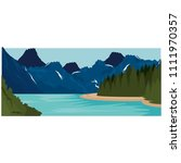 mountains with snow and river... | Shutterstock .eps vector #1111970357
