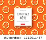summer sale banner with sliced... | Shutterstock .eps vector #1112011457