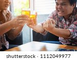 business people are drinking to ... | Shutterstock . vector #1112049977