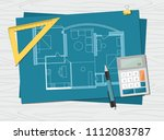 workplace   technical project... | Shutterstock .eps vector #1112083787