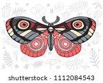night tropical moths hawkmoth... | Shutterstock .eps vector #1112084543