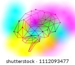 human brain of triangles  lines ... | Shutterstock .eps vector #1112093477