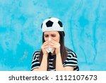 sad upset crying football... | Shutterstock . vector #1112107673