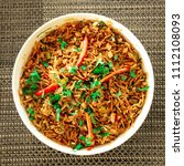 delicious indian rice dish ... | Shutterstock . vector #1112108093