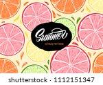 summer citrus illustration and... | Shutterstock .eps vector #1112151347