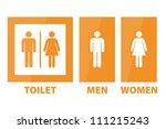 toilet sign   orange color  ... | Shutterstock . vector #111215243