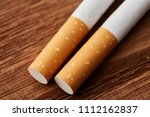 cigarettes close up on a wooden ...   Shutterstock . vector #1112162837