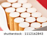 cigarettes in a pack close up...   Shutterstock . vector #1112162843