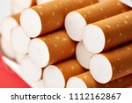 cigarettes in a pack close up...   Shutterstock . vector #1112162867