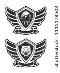 monochrome military unit logo.   Shutterstock .eps vector #1112178503