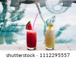 water melon red fresh juice and ... | Shutterstock . vector #1112295557