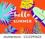 hello summer banner background... | Shutterstock .eps vector #1112295623