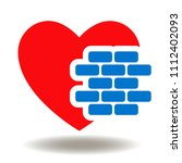 red heart with bricks icon... | Shutterstock .eps vector #1112402093