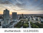 Modern buildings in Warsaw during sundown. Warsaw is a capital of Poland, Europe. - stock photo