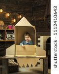 childhood concept. kid sit in... | Shutterstock . vector #1112410643