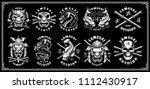 set of vintage samurai warrior... | Shutterstock .eps vector #1112430917