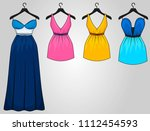set of long gown and cocktail... | Shutterstock .eps vector #1112454593